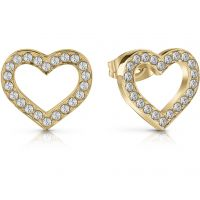 GUESS gold plated heart frame stud earrings with Swarovski® crystals.