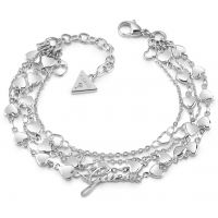 GUESS rhodium plated four-row multi heart chain bracelet.