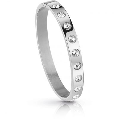 GUESS rhodium plated flat bangle with clear Swarovski® crystals.