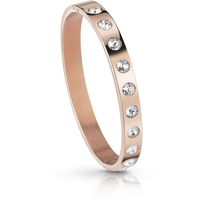 GUESS rose gold plated flat bangle with Swarovski® crystals.
