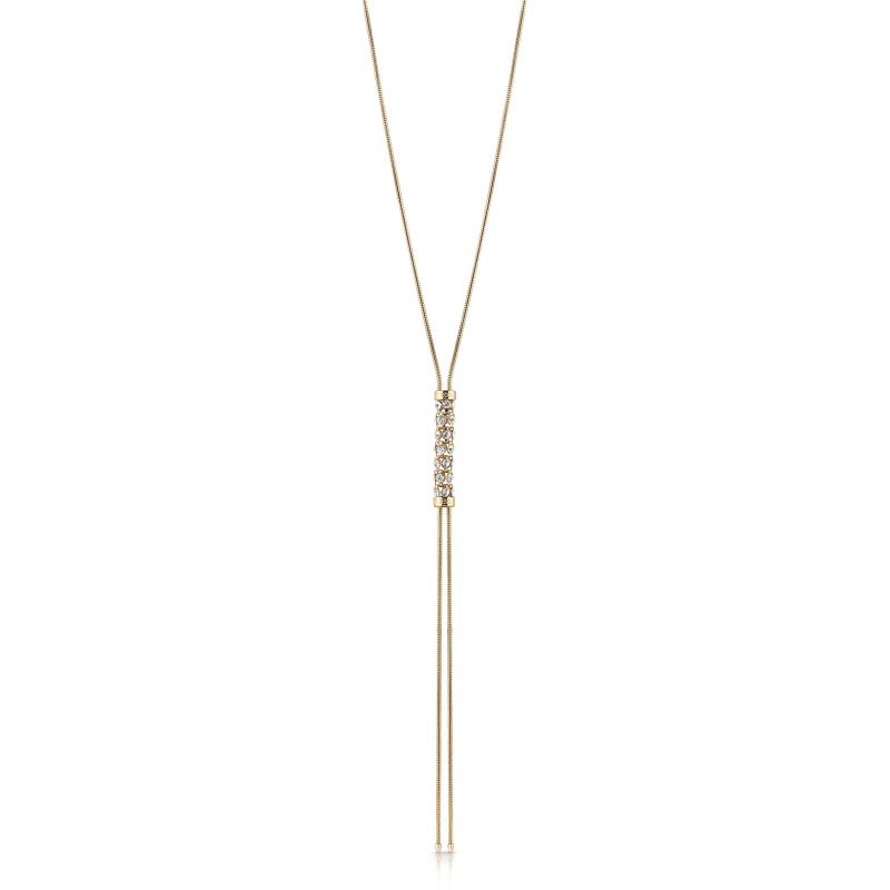 """Image of            GUESS 16-18"""" gold plated necklace with vertical coiled Swarovski® crystal charm."""