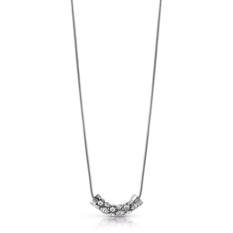 """Image of            GUESS 16-18"""" rhodium plated necklace with horizontal coiled Swarovski® crystal charm."""