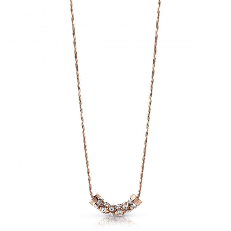 """Image of            GUESS 16-18"""" rose gold plated necklace with horizontal coiled Swarovski® crystal charm."""