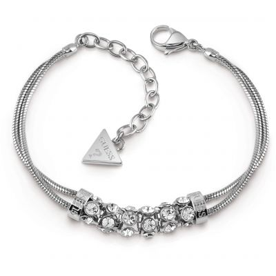 GUESS rhodium plated double-bracelet with centred pavè Swarovski® crystal bar.
