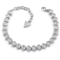 GUESS rhodium plated tennis bracelet with Swarovski® crystals.
