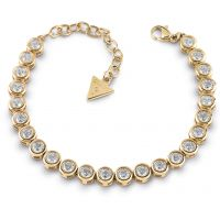 GUESS gold plated tennis bracelet with Swarovski® crystals.