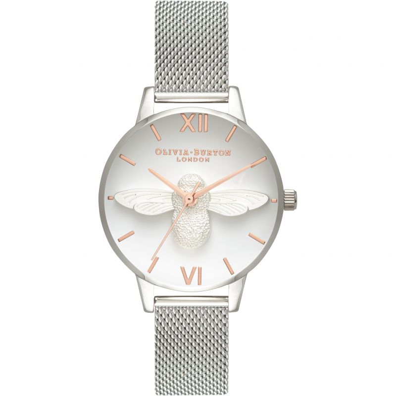 3D Bee Silver Mesh Watch