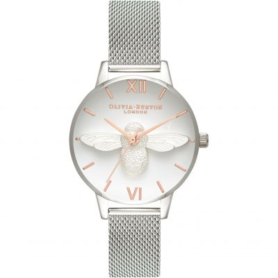 Montre Femme Olivia Burton 3D Bee Rose Gold & Silver OB16AM146