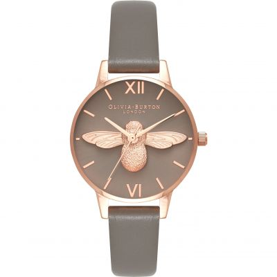 Olivia Burton 3D Bee 3D Bee Pale Rose Gold & London Grey Damenuhr in Grau OB16AM148