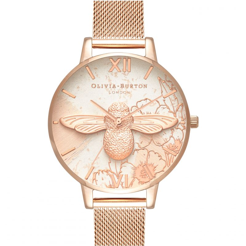 Abstract Florals Rose Gold Mesh Watch OB16VM26 for £158