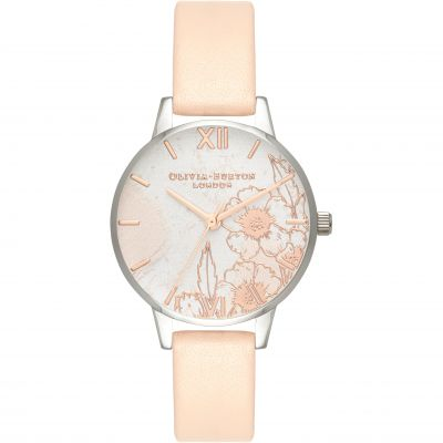 Abstract Florals Silver & Nude Peach Watch