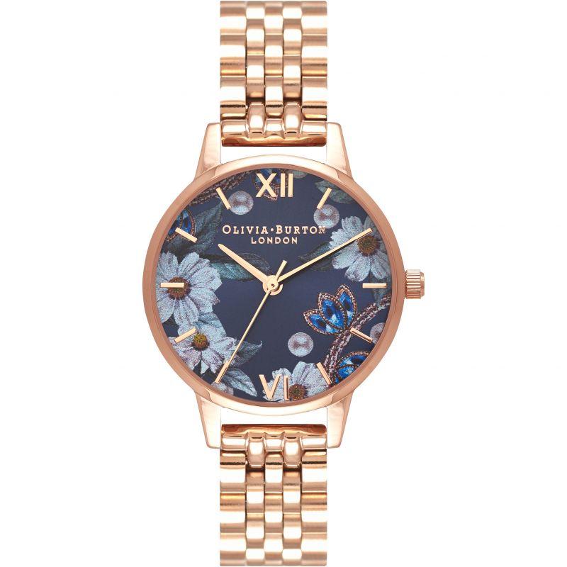 Bejewelled Florals Rose Gold Bracelet Watch