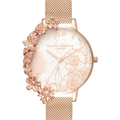 Case Cuffs Abstract Florals Rose Gold Mesh Watch
