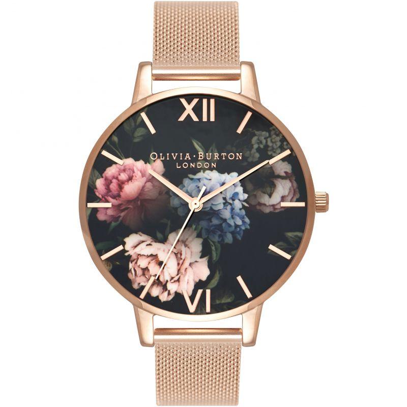 Dark Bouquet Black Rose Gold Mesh Watch