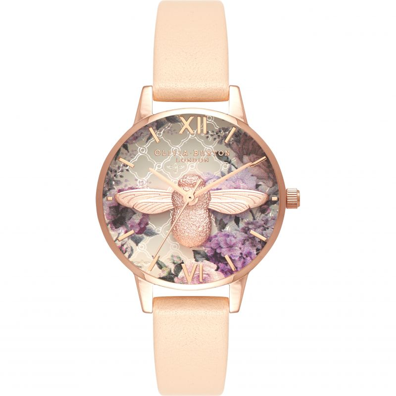 Glasshouse Rose Gold Bee & Nude Peach Watch