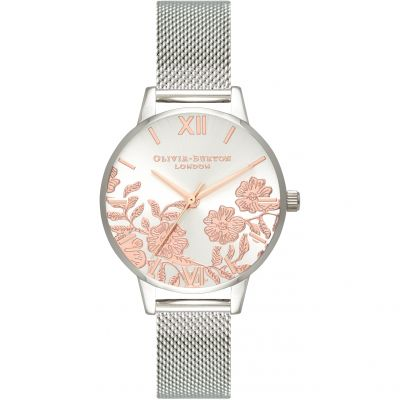 Lace Detail Rose Gold & Silver Mesh  Watch