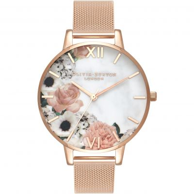 Marble Florals Gold Mesh Watch