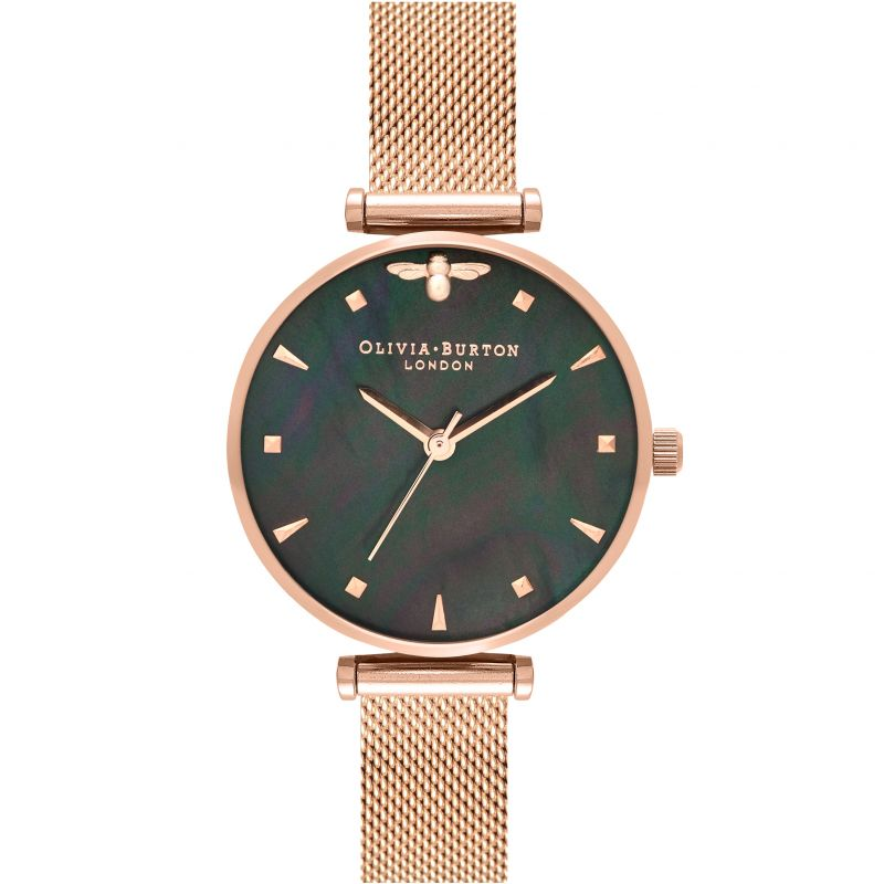 Queen Bee Black Mother-Of-Pearl Rose Gold Mesh Watch