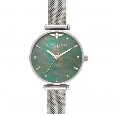 Queen Bee Blue Mother Of Pearl Silver Mesh Watch