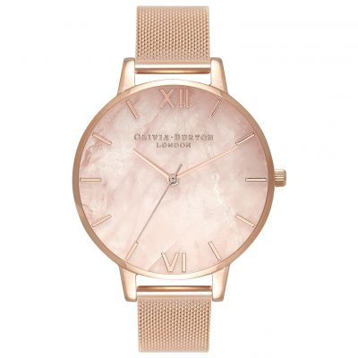 Semi Precious Rose Quartz Rose Gold Mesh Watch