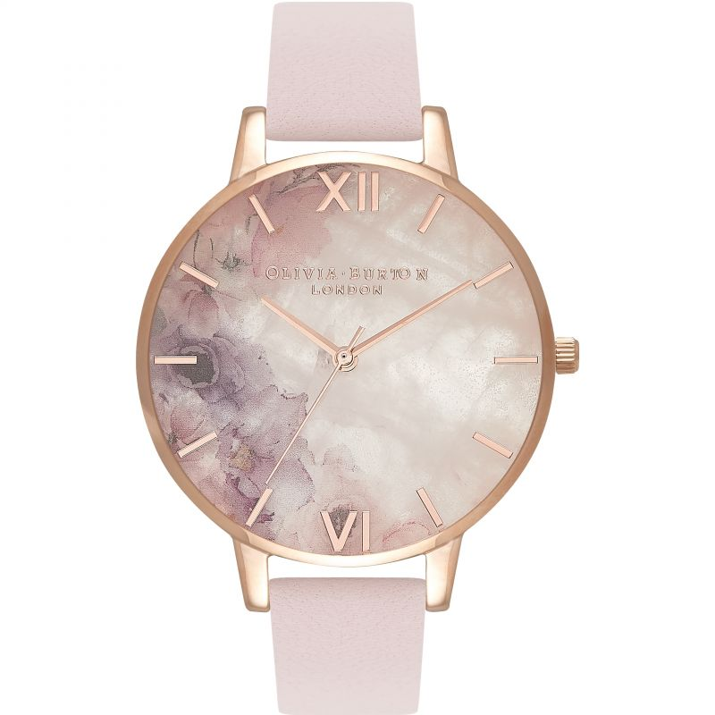 Semi Precious Rose Quartz Rose Gold & Blossom Watch