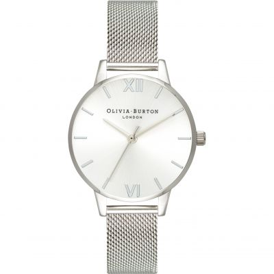 Sunray Dial Silver Mesh Watch