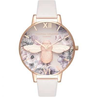 Olivia Burton Watercolour Florals Watercolour Florals Rose Gold & Blush Damenuhr in Grauweiß OB16PP41