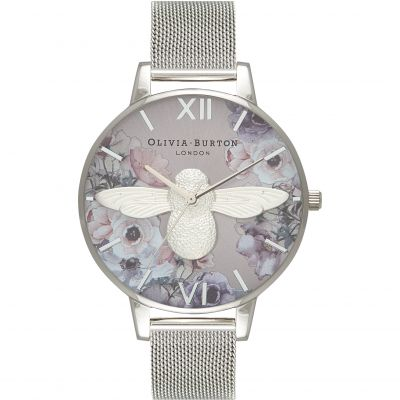 Watercolour Florals Bee Silver Mesh Watch