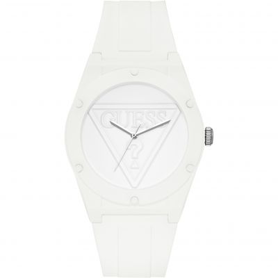 GUESS  Retro Pop white silicone watch with white logo dial.