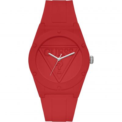 GUESS Retro Pop red silicone watch with red logo dial.