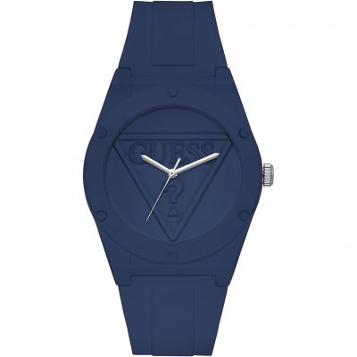 GUESS Retro Pop blue silicone watch with blue logo dial.