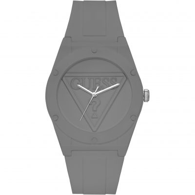 GUESS Retro Pop grey silicone watch with grey logo dial.