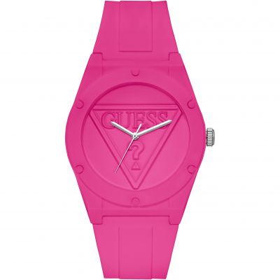 GUESS Retro Pop cerise pink silicone watch with pink logo dial.
