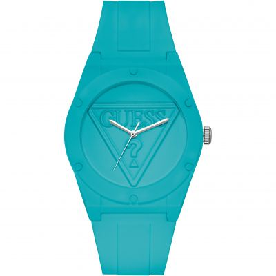 GUESS Retro Pop turquoise silicone watch with turquoise logo dial.