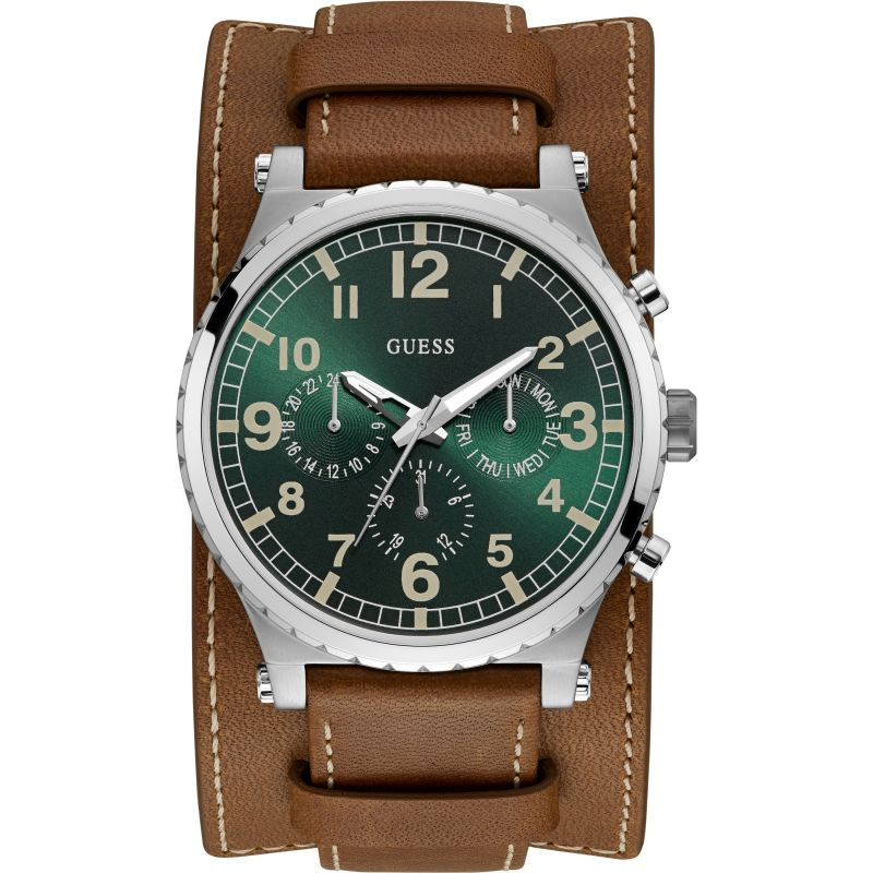 GUESS Gents silver watch with green dial and leather strap with removable cuff.