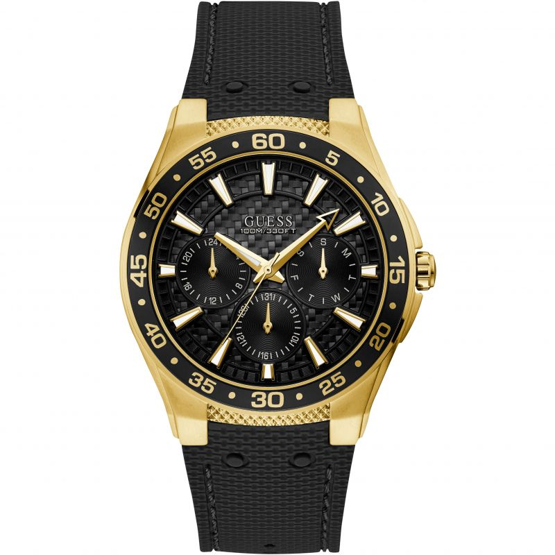 GUESS Gents gold watch with black trim, dial and silicone strap.
