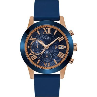 GUESS Gents rose gold watch with blue trim, dial and strap.