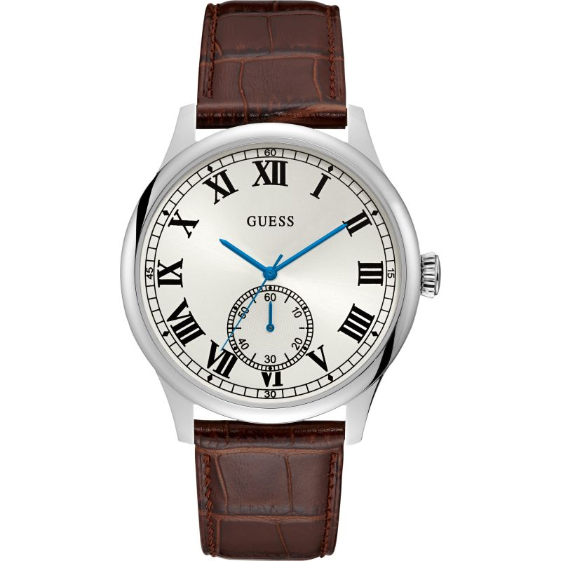 GUESS Gents silver watch with white dial and brown leather strap.