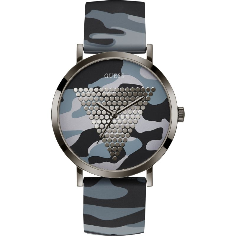 Image of GUESS Gents gunmetal watch with camo logo dial and camo silicone strap.