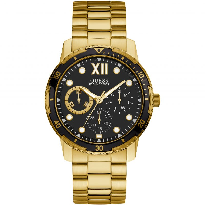 GUESS Gents gold watch with black trim, black multifunction dial and gold bracelet.