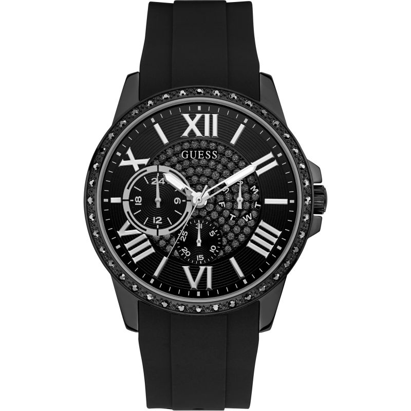 GUESS Gents black watch featuring a black multifunction dial with crystals and black silicone strap.