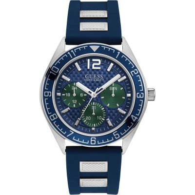 GUESS Gents silver watch with blue trim, dial and  strap.