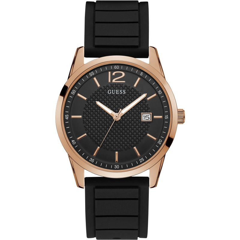 GUESS Gents rose gold watch with black dial and silicone strap.