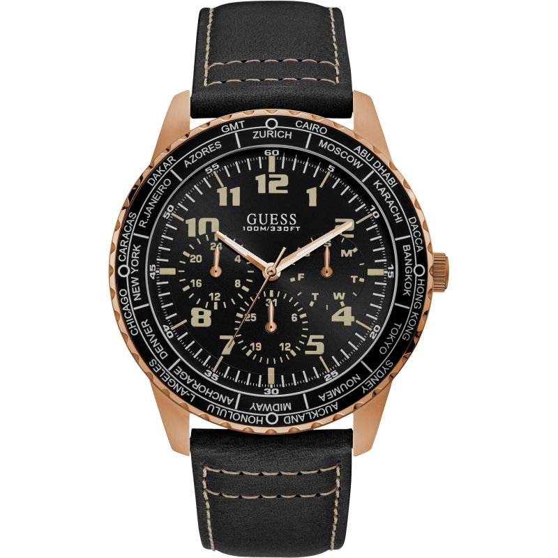 GUESS Gents copper watch with black trim, dial and leather strap.
