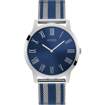GUESS Gents silver watch with two tone mesh bracelet.