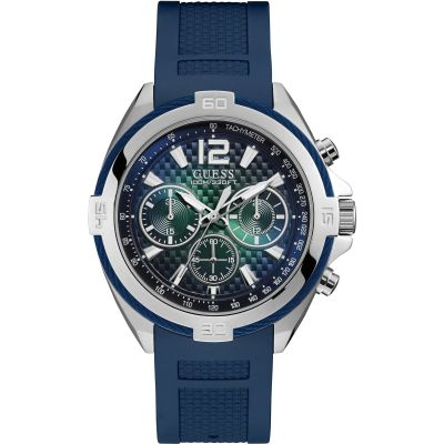GUESS Gents silver watch with blue wire detail, green dial and blue strap.