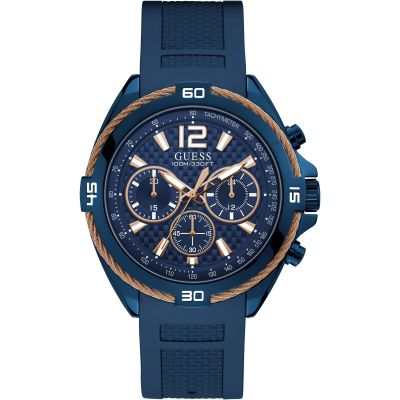GUESS Gents blue watch with rose gold wire detail.