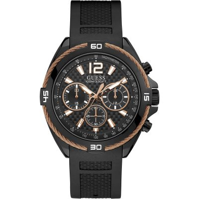 GUESS Gents black watch with copper wire detail.
