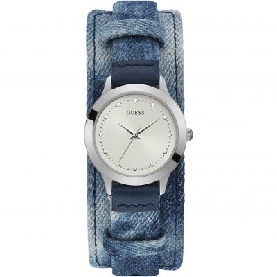 GUESS Ladies silver watch with white dial, acid-wash denim leather strap and removable cuff.