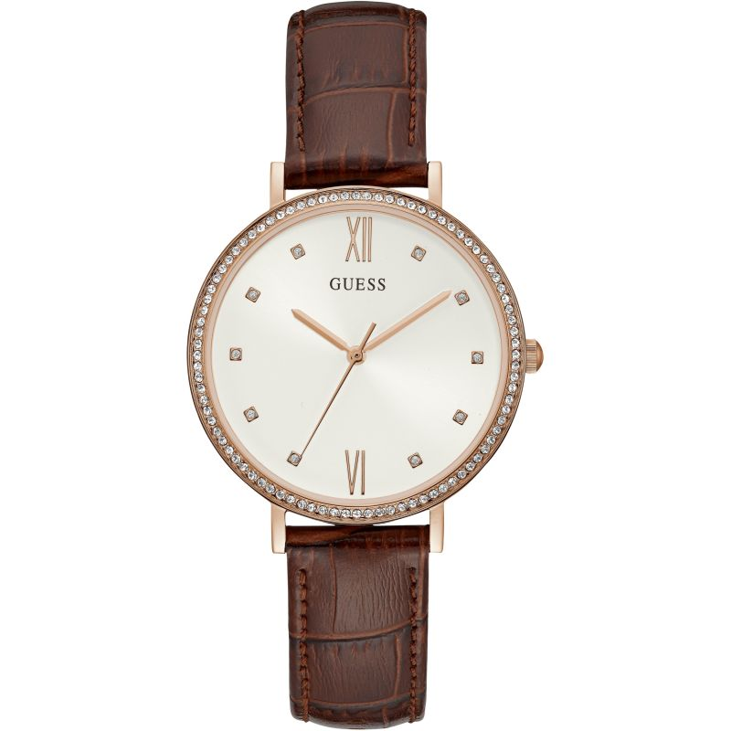 GUESS Ladies rose gold watch with brown croco leather strap.